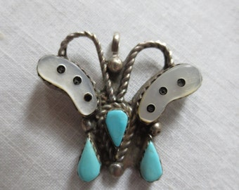 Beautifully Detailed ZUNI BUTTERFLY Turquoise Inlay PENDANT