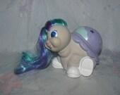 Vintage Tonka Keypers Keyper Purple Baby Turtle/Tortoise - Poke Series 2 - Cigarette Smoke Smell - Long Striped Hair, Sparkly Eyes
