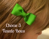 ON SALE Baby Hair Bows - NEW Small Hairbows - Tuxedo Bow - Choose from 80 colors - You Pick 3 Bows - No Slip Grip- Baby, Toddler. Girls