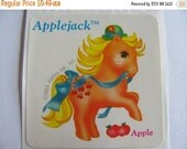 ON SALE Rare Vintage My Little Pony Scratch and Sniff Applejack Apple Sticker - 80's Unique Retro Gift - MLP Collectable Scented