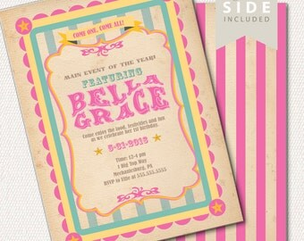 Circus Invitation, Carnival Invitation, Big Top - Printable Birthday Party Invite - Vintage Pink