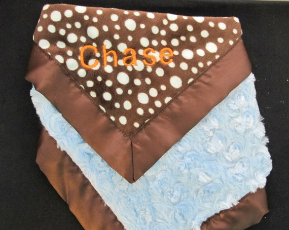 Luxury Lovie or Travel Blanket with Baby's Monogram or Name