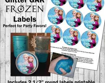 "FROZEN Party Favor Printable - GLITTER GAK - 2.5"" round labels and directions! Elsa and Anna."