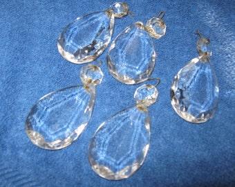 Five (5) Teardrop Pear Shaped Crystal Glass Prisms