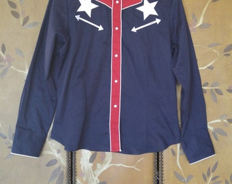 80s Red, white and Blue Star Roper western shirt