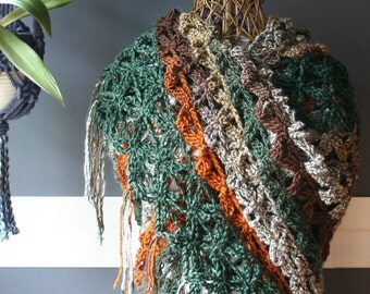 Crochet Triangle Shawl,Knit Shawl,Crochet Scarf,Knit Scarf,Wrap,Stole,Flower Of Life,Gypsy Clothing,Womens Clothes,Brown,Green,Orange,Fringe