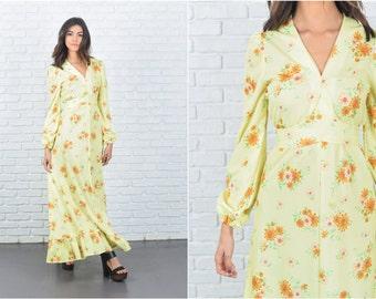 Vintage 70s Yellow boho Dress Floral Daisy Print Puff Sleeve Maxi Medium M 7318