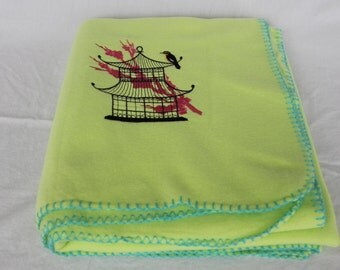 Granny Smith Apple Green Blanket with Embroidered Japanese (Asian) Birdcage