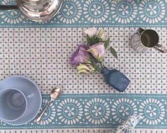 Blue Borderie Anglaise linen tablecloth