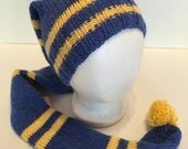 """Stocking Cap Handknitted Blue Yellow Striped College Colors School Colors 41"""" long"""