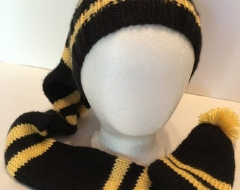 """Stocking Cap Handknitted Black Gold Striped Pittsburgh Steelers Super Soft 44"""" long"""