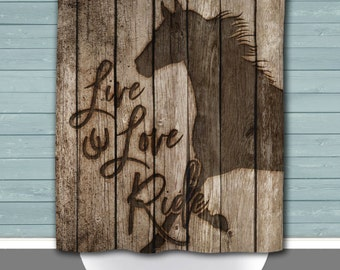 Live Love Ride Horses Shower Curtain   Rustic Wood Plank Look Country Chic Ranch Decor   Made in the USA   12 Hole Fabric Bathroom Decor
