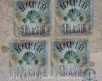 Coaster Set | Beach Life   Nautical Beach House Seashell Decor | Set of 4 Cork Back | Options at Checkout