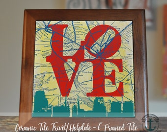 "Trivet Hot Plate: Philly LOVE Skyline | 6"" Ceramic Tile Framed (Trivet) OR Stand Alone Tile | Product Sizes and Pricing via Dropdown Menu"