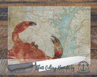 Glass Cutting Board - Maryland Crab Map Red | Nautical Beach House Decor | Small or Large Kitchen Art for Your Countertop
