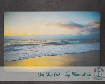 Placemat - Sunset Beach Waves   Nautical Beach House Decor   Anti Skid/Non Slip Fabric Top Rubber Backed Awesomeness