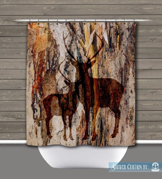 Lodge Themed Bathroom Decor: Deer Shower Curtain: Rustic Lodge Wilderness Americana Lodge