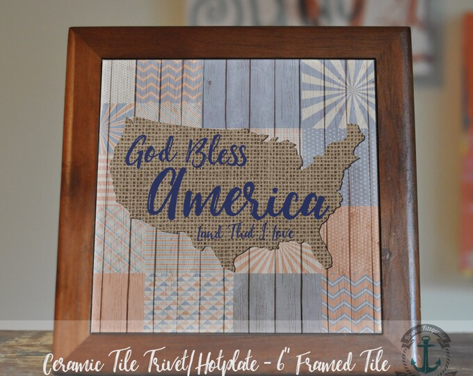 "Featured listing image: Trivet Hot Plate:  God Bless USA  6"" Ceramic Tile Framed (Trivet) OR Stand Alone Tile 