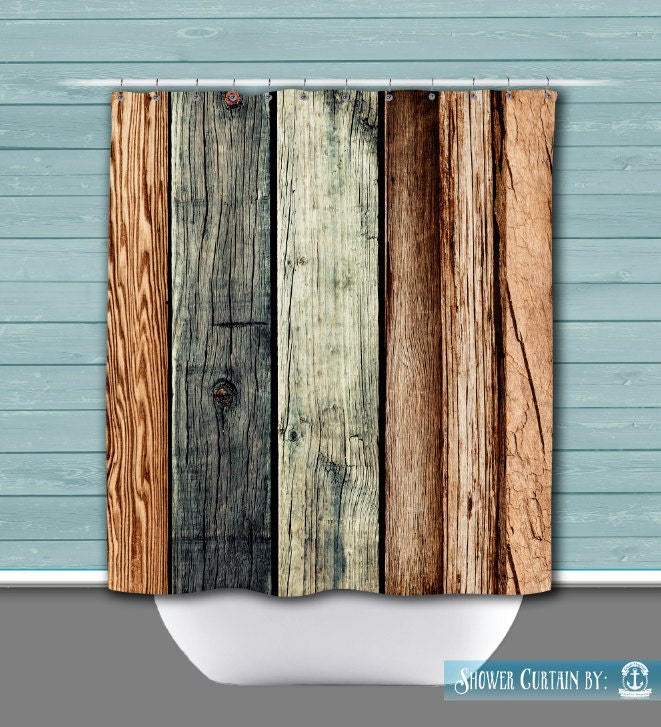 Shower Curtain And More Rustic Wood Plank Look Chic Lodge Cabin Style Americana See Dropdown
