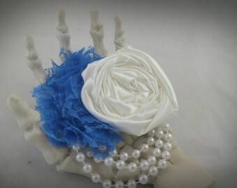 Rosette Fascinator - Wedding Fascinator - White/Blue Rosette Fascinator
