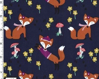 Lil' Foxy on Navy from Michael Miller's Fox Woods Collection
