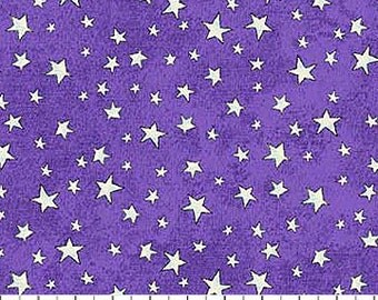 Stars on Purple from Northcott Fabric's Happy Halloween Collection