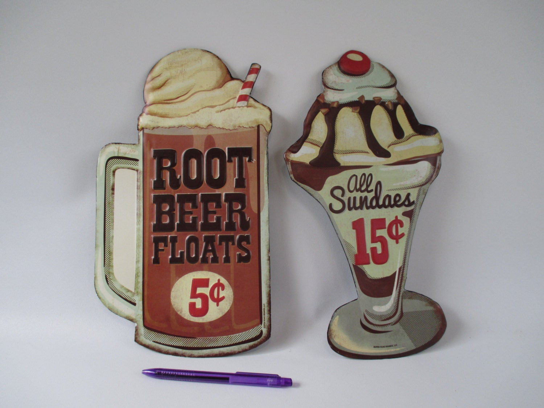 Ice Cream Signs Metal Vintage Root Beer Floats Sundae Old