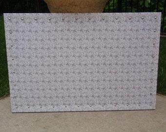 "PinBoard Corkboard Cork Bulletin Message Pin Dream Vision Board 23"" x 35"" size, Gray / Grey Scroll Print Fabric, Shiny Chrome Nail Head Trim"