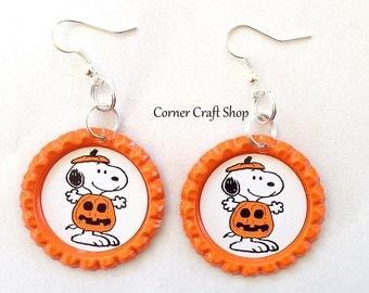 1 pair Halloween Snoopy Pumpkin Peanuts Orange Flat Bottle Cap Earrings  Glitter OR Clear Epoxy Sealed