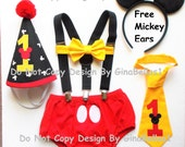 Mickey Mouse Birthday cake smash costume outfit suspenders baby FREE EARS diaper cover bowtie or I am one tie hat 6 9  12 18 24 toddler
