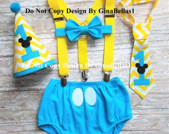 Mickey Mouse Birthday cake smash outfit suspenders baby blue costume clubhouse I am one 1st diaper cover chevron bowtie Hat 12 18 24 toddler