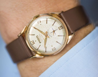 Men's watch Omodox precision del luxe, gold plated Swiss watch him 60s, classy men watch antimagnetic, dress watch,genuine leather strap new