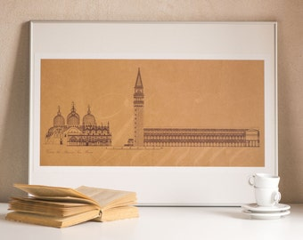 San Marco Venice mid century drawing style, digital print Piazza San Marco, St Mark's Square architecture drawing, print San Marco Venice