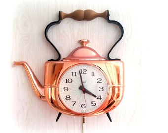 70S Tea Kettle Wall Clock - Vintage Electric Wall Clock - TIMEX - Copper Tea Kettle Clock