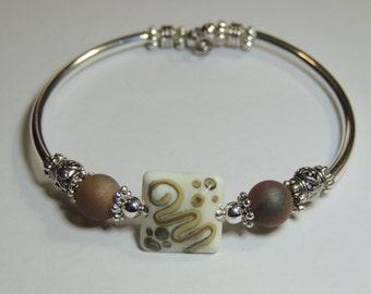 Handmade Silver Tube Unique NO CLASP  Lamp Glass Bracelet