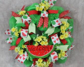 Watermelon Wreath, Welcome Wreath, Watermelon  Wreath,Yellow Daisy Wreath, Deco Mesh Weath, Ribbon Wreath, Door Wreath, Summer Door Wreath