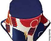 African Queen Blue-top Bucket Hat | Afro | Afrocentric Hat | Natural Hair Hat | African Silhouette | Red Blue Gold Hat by Hamlet Pericles