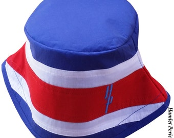 Costa Rica Flag Bucket Hat   Flag   Tico Hat   Costa Rican Country Flag Hat   Stripe Hat   Red White Blue Hat by Hamlet Pericles   HP21116a