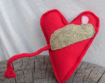 Catnip Heart with Mouse. Red Fleece with Organic Catnip. Valentine