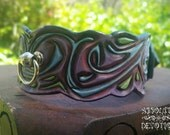 Dark Candyland - One of a Kind Hand Carved Leather Lockable Collar - Absolute Devotion