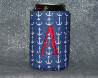 Can Cooler, Anchors,Monogram Can Cooler, Nautical