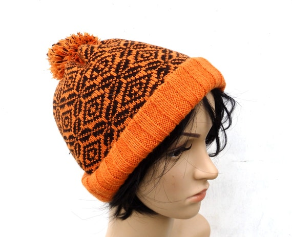 Items similar to Knitted wool beanie, knit double hat ...