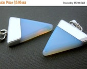 10% Weekend Flash SALE Gemstone Triangle Pendant-- 31mm x 26mm Opalite Triangle Charm Pendant with Silver Electroplated Cap and Bail (S48B3-