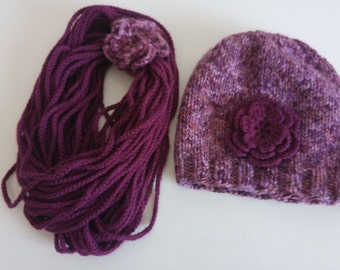Knit Girls Scarf Set, Winter Scarf Hat Set