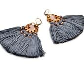 Dark Grey Fringe Earrings, Tassel Earrings, Tribal Earrings, Yarn Earrings, Boho Earrings, Folk Earrings, Hippie Style