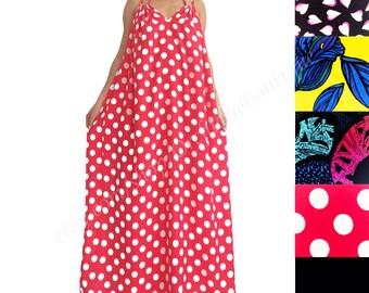 Women maxi dress / Plus size dress / Caftan dress / Polka dots / Long dress / Convertible dress / Maternity dress / Summer dress / CACADU