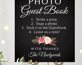 Instant Photo Guest Book Sign | 8 x 10 Sign | Printable Sign | Timeless Script | Romantic Blooms | PDF and JPG Files | Instant Download
