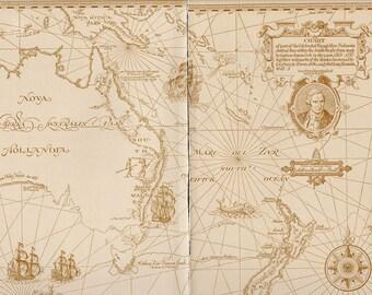 LARGE Antique AUSTRALIA New Zealand world Map 1900s original Map of the World