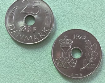 Two Danish 25 Ore Coins Vintage 1970s