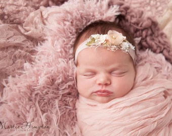 Newborn Headband, Baby Girl Headband, Ivory and Blush Pink Headband, Floral Headband,  Photo Prop